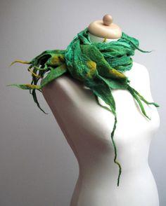 Nuno Felted Scarf Spring Green Grass Shawl Wrap by FeltMeadow, $69.00