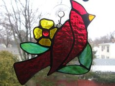 Stained Glass Cardinal  Garden Stake or Sun by GlassMonkeyArts
