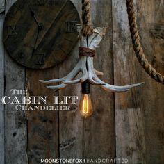 The Cabin Lit Chandelier - Antler Pendant Light - Rope Light - Hanging Accent light -Ceiling light - Antler lamp Statement Light
