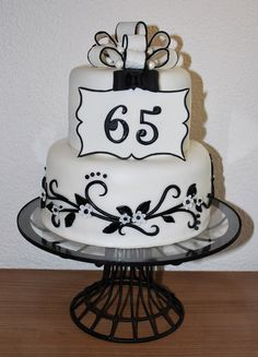 Black White Swirls 65 Birthday Cake Grandma Cakes