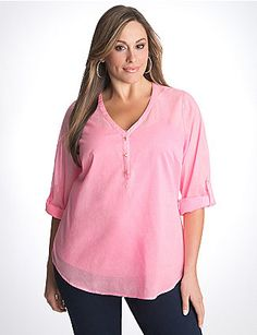 Plus Size Sheer Cotton Tunic by Lane Bryant