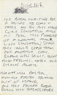 Joy Division: Handwritten lyrics by Ian Curtis for Disorder, ca 1978 • via