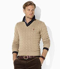 Polo Ralph Lauren LongSleeved Silk CableKnit VNeck Sweater #Dillards    nice effortless layered look.