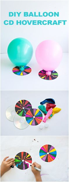 DIY Balloon CD Hovercraft with Kids' Art. Fun STEM project for kids.