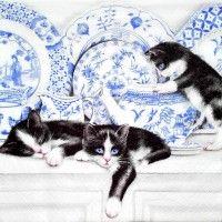 Servítka - Cibuľový riad a mačičky