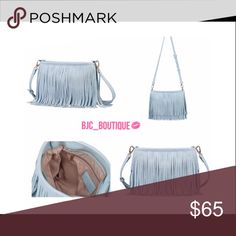 FLASH SALEBaby Blue Fringe Bag  Baby Blue Fringe Bag   Material:  PU Leather   Size: 10in X 6in X 3in  Made in USA OFFERS ACCEPTED ASK QUESTIONS  TRADE OFFER COMMENTS BUSINESS DAY SHIPPING ONLY  SAVE & BUNDLE ⭐️KEEP CALM & POSH ON⭐️ April Spirit Bags Shoulder Bags