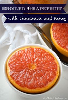This Broiled Grapefruit with Cinnamon and Honey is the perfect way to enjoy (in season) Florida Grapefruit. This sweet, juicy and totally healthy dish is perfect for breakfast or snacks.