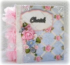 ELITE4U Toni Premade Scrapbook Album Girl Baby Prima Flower Shabby Chic Handmade | eBay