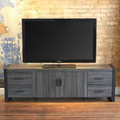 Walker Edison 71 in. Wood TV Stand - Charcoal Gray | from hayneedle.com