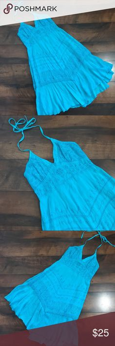 """L.S.I. Boho Dress Beautiful turquoise blue colored boho Halter Dress. Embroidered with little gems 💎. Excellent used condition. Approximately 40"""" long. Back points into a V. Somewhat high low. Very minimal tho. L.S.I.  Dresses High Low"""