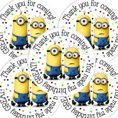 20 Despicable Me Round stickers labels birthday by maryahdesigns, $5.00