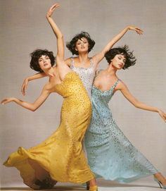 Amber Valletta, Trish Goff and Shalom Harlow for Versace F/W 1995/'96