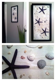 Completely homemade. The shells and starfish are from Clearwater Beach, FL. Also added sand to the background and several crushed up shells. Perfect for the bathroom!