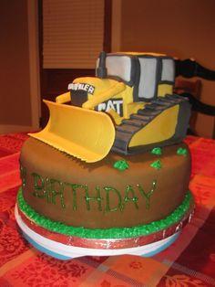 The bulldozer is made of rice crispy treats and fondant and gum paste. 80th Birthday, Boy Birthday Parties, Birthday Cakes, Fondant Cakes, Cupcake Cakes, Cupcakes, Bulldozer Cake, Digger Party, Construction Birthday