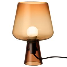 The smallest member of the Leimu table lamp range by Iittala is made of a single piece of transparent, coloured glass. The all-glass structure gives the Leimu lamp an airy feeling and diffuses the light in a soft, atmospheric way. Delia Fischer, Nordic Interior Design, Glass Structure, Scandinavian Living, Lampshades, Colored Glass, Copper, Table Lamp, Single Piece