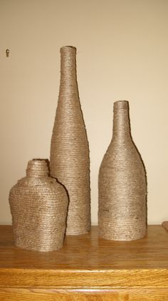 Jute wrapped bottles for lamp base