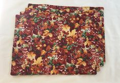 NEW Falling Leaves Autumn/Thanksgiving Placemats. Red | Etsy