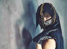 Hexbreaker Studded Mask and Headpiece / Warrior Mask / Warrior www.RPDesignHouse.etsy.com #darkfashion #cosplay #costume #mask #headdress #couture #armor #leatherwork #leathermask #gothfashion #performance #film
