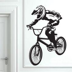 BMX Art Wall Decal Stickers Bike Boys Room by VinylWallArtworks