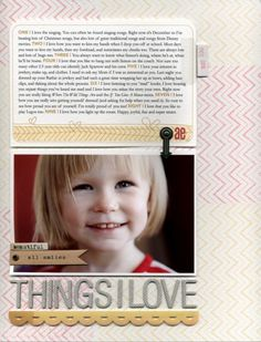 I love the stamped background by @Ali Edwards but also the layout of the photo and journaling. So cute!