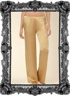 OYSHO palazzo Satin Pants Gold Pyjama style Trousers wide leg NEW | eBay