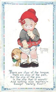 Beatrice Mallet, Vintage Oilette postcard 1929 - Cute Kiddies Set