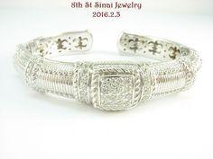 RETIRED Judith Ripka Sterling Silver 925 Pave Set Diamonique Cuff Bracelet  #JudithRipka #Cuff