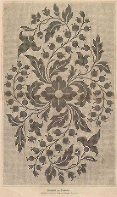 would make a neat filet crochet doily: Cross Stitch Borders, Cross Stitch Flowers, Cross Stitch Designs, Cross Stitching, Cross Stitch Embroidery, Embroidery Patterns, Cross Stitch Patterns, Filet Crochet Charts, Crochet Motifs