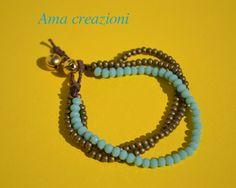 bracciale azzurro con campanelli di Amacreazioni su Etsy