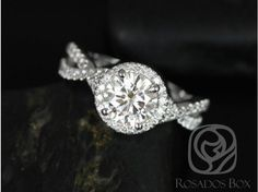 Rosados Box Gabi 7mm 14kt White Gold Round F1- Moissanite and Diamond Twist Halo Engagement Ring