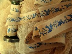 Blue Birds on a Trailing Vine - Hand Stamped in  Royal Blue - 2 yards (0336). $4.90, via Etsy.