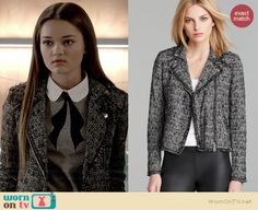 Emma's tweed moto jacket on Red Band Society.  Outfit Details: http://wornontv.net/37536/ #RedBandSociety