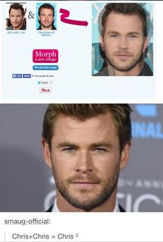 Actually it equals Chris times Chris equals Chris squared.Chris Pratt + Chris Evans = Chris Hemsworth MIND BLOWN<<<<dude my head's spinning don't bring math to marvel Funny Marvel Memes, Marvel Jokes, Dc Memes, Funny Memes, Hilarious, Thor Meme, It's Funny, Marvel Dc, Marvel Actors