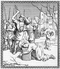 #Martirio: sentencia de muerte, la pena capital, la pena que exige la cabeza, o dicho de otro modo, la muerte por decapitación. La mayoría de los mártires de la Antigüedad acabaron así el curso de sus tormentos. Los afortunados que gozaban de la ciudadanía romana fueron directamente a ello sin pasar por la tortura. Diego (Santiago, JImmy) de Alcalá (13-XI); de Santa Clara (13-IX); José de Cádiz [5-I / 22-V (Málaga) /14-VI (Jerez y Sevilla)]; Kisai (3-II); (Luis) de San Vítores (6-X).