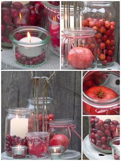 Apples and crabapples, jars and candles. Easy.