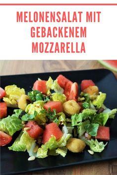 Der leckeren Melonensalat mit gebackenem Mozzarella. #lecker #Melonensalat #gebackenem #Mozzarella Fruit Salad, Cobb Salad, Food And Drink, Magic, Easy, Kitchen, Inspiration, Vegetarian Recipes, Salads