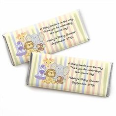 Zoo Crew - Personalized Baby Shower Candy Bar Wrapper Favors.