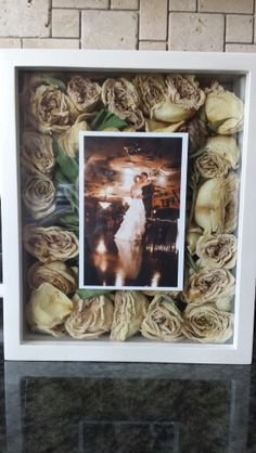 Shadow box wedding picture & bouquet