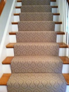 This is a wilton carpet installed on a straight set of stairs. www.thecarpetwork.com