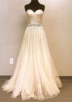 Sweetheart sequined wedding dress.