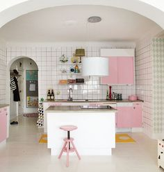 I like the white trim with the different colors cabinet doors. Maybe a tan or a light grey. THIS IS MY KITCHEN! White counter tops. Still not sure on backsplash.