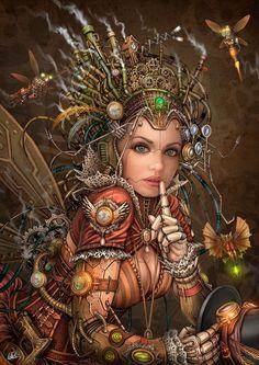**Silence Please - Steampunk Fairy by DarkAkelarre.