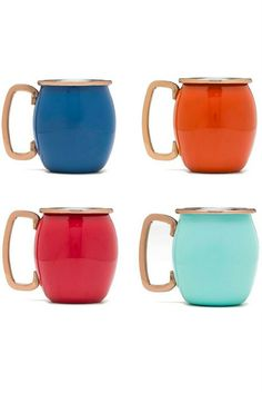 Fiesta (fiestaware) Moscow Mule set. You can actually get these all in one color. I love the Turquoise it is the perfect shade of aqua. aff