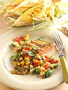 Basil-Grill Salmon with Spicy Corn Relish - The lemon and basil marinade is thick enough to spread over the salmon fillet to marinate and to use as a basting sauce during grilling.