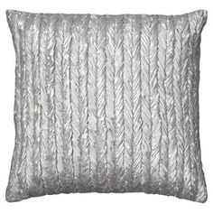 """Silver-hued pillow with a braided design.  Product: PillowConstruction Material: Lurex coverColor: SilverFeatures:  Insert includedHidden zipperMade in India Dimensions: 18"""" x 18""""Cleaning and Care: Dry clean only"""