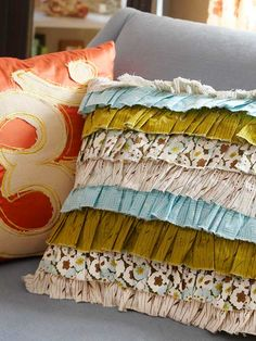 Ruffle Pillow. Made from old clothes, scrap fabric.