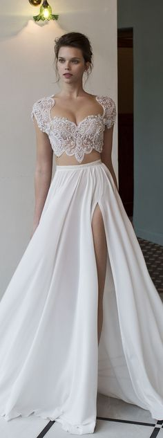Two- Piece Wedding Dresses is one of those bridal trends that are here to stay! Whether you like to push the envelope with a crop-top or not, the skirt-top combo allows for a fun, youthful vibe, witho
