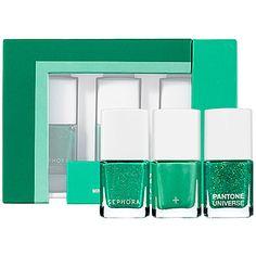 SEPHORA+PANTONE UNIVERSE Mini Graphic Effect Lacquers $18USD #SephoraPantone #Emerald #ColoroftheYear and tag @Pantone Color