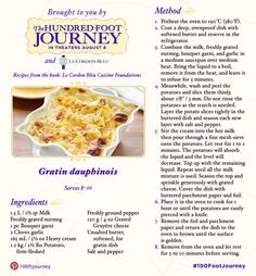 Do you aspire to be a chef like Hassan? Add this Gratin Dauphinois recipe inspired by The Hundred-Foot Journey to your cookbook and see the film in theaters August 8! #100FootJourney