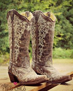"""Leather And Lace AKA """"The Wedding Boot"""" Corral Boots (PRE ORDER)"""